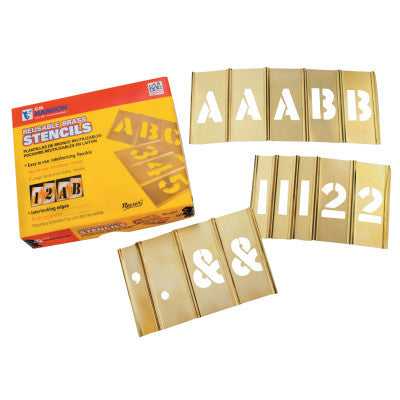 "Brass Stencil Letter & Number Sets, 2"", 92 Pieces"