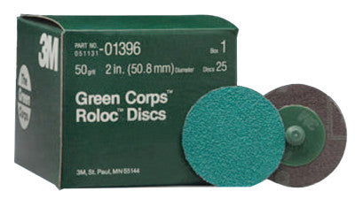 Green Corps Roloc Discs, Aluminum Oxide, 2 in Dia., 50 Grit