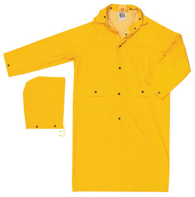 Classic Rain Coat, Detachable Hood, 0.35 mm PVC/Polyester, Yellow, 49 in Small