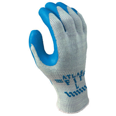 Atlas Fit 300 Rubber-Coated Gloves, Large, Gray/Blue
