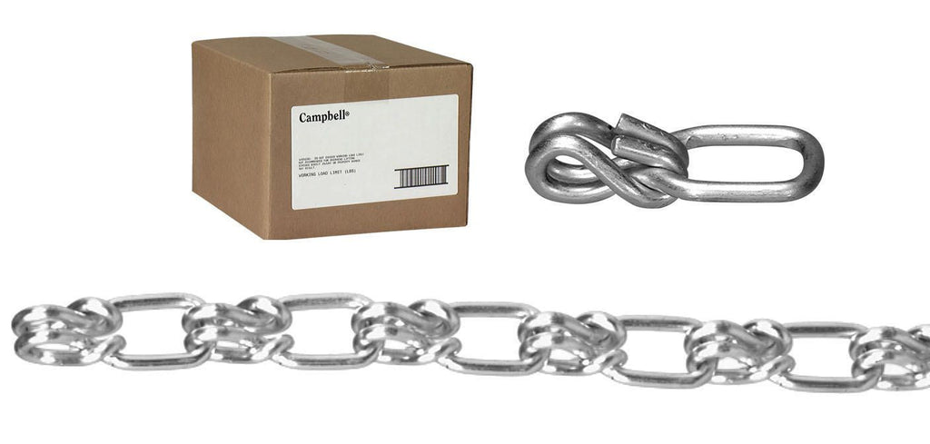 #2 Lock Link Single Loop Chain, Sheared, Zinc Plated, 100' per Carton