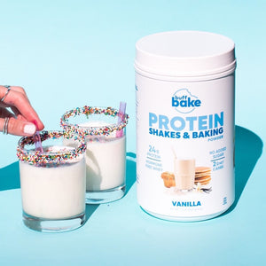 Vanilla protein milkshakes with sprinkles not he rim.  High in protein, fun, and delicious.