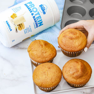 Vanilla Protein pumpkin flavored muffins.  Low in calories and high in protein!