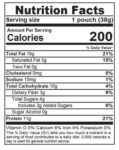 Chocolate Chip Single Serve Nutrition Facts