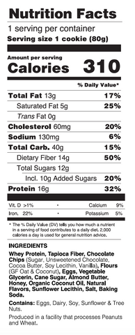 Buff Bake Soft Baked Classic Chocolate Chip Nutritional Information