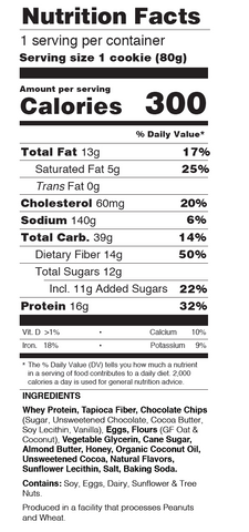 Buff Bake Soft Baked Protein Cookie Double Chocolate Nutritional Information