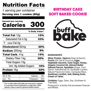 Buff Bake Protein Soft Baked Cookie, Birthday Cake, Nutritional Panel, Ingredients