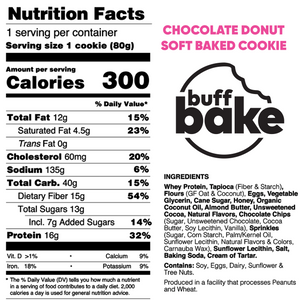 Buff Bake Protein Soft Baked Cookie, Chocolate Donut, Nutritional Panel, Ingredients