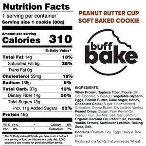Buff Bake Protein Soft Baked Cookie, Peanut Butter Cup, Nutritional Panel, Ingredients