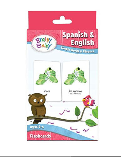 SPANISH & ENGLISH Flashcards SET Simple Words and Phrases for Preschool Children by Brainy Baby®