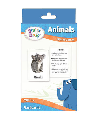 Brainy Baby Animals Flashcards Set Apes to Zebras Deluxe Edition