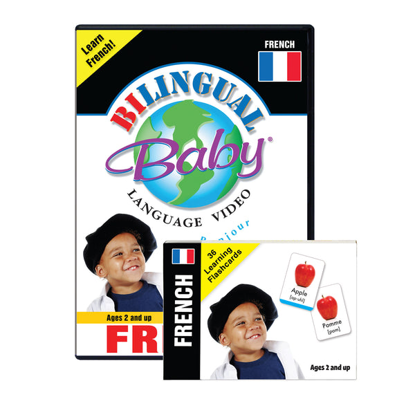 Bilingual Baby Learn French Total Immersion DVD and Flash Card Set for Babies and Toddlers by Small Fry Beginnings
