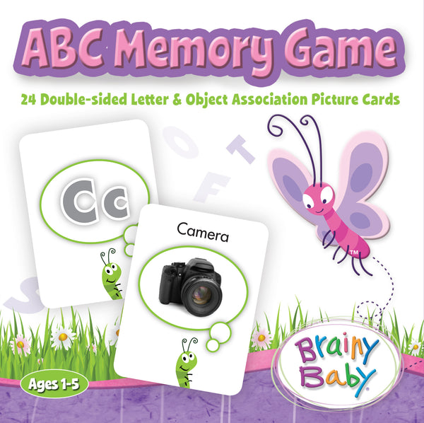 Brainy Baby Teach Your Child ABCs Memory Game - 24 Double Sided Letter & Object Association  Picture Cards