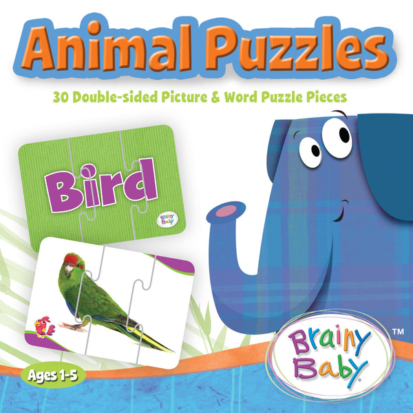 Brainy Baby Teach Your Child About Animals Puzzle Matching Game with 30 Double Sided Picture and Word Puzzle Pieces