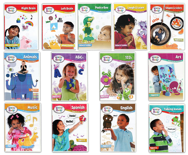 Brainy Baby Learning Library: ABCs, 123s, Shapes & Colors, Animals, Art, Music, Sign Language and more - Deluxe Edition Set of 13 DVDs