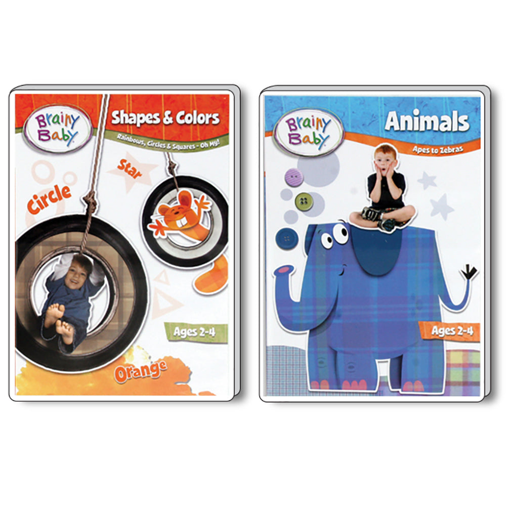 Brainy Baby Teach Your Child Shapes & Colors and Animals DVDs