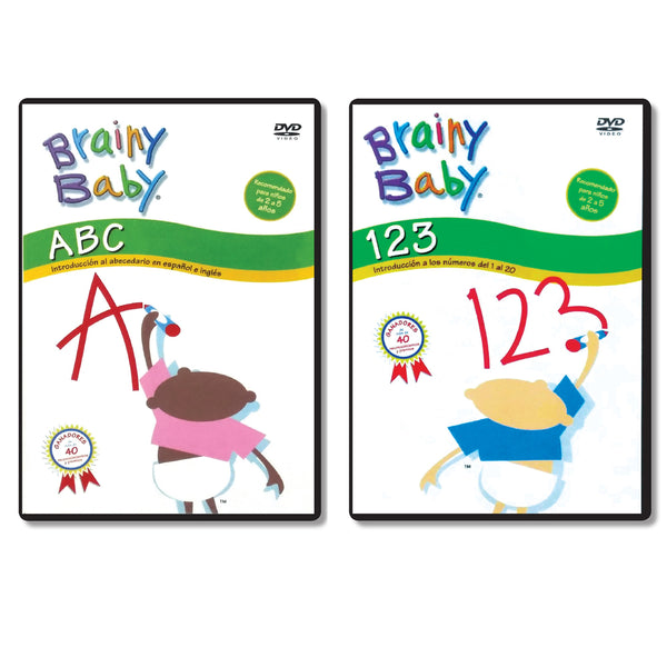 Brainy Baby Teach Your Child ABCs and 123s: Spanish Version DVD Set of 2