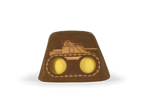 COOEEE Tank Sunglasses Hat Brown with Yellow Lenses by Boomerang Baby