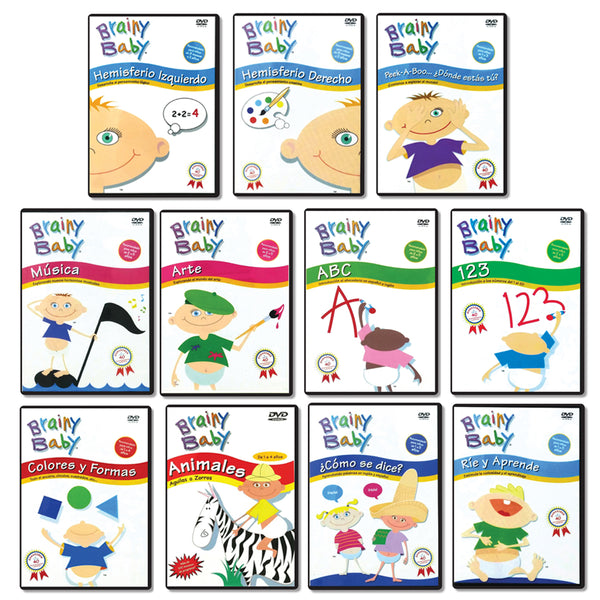 Brainy Baby Spanish Language Learning Library: ABCs, 123s, Colores y Formas, Animales, Arte, Musica and more - Set of 11 DVDs Classic Edition