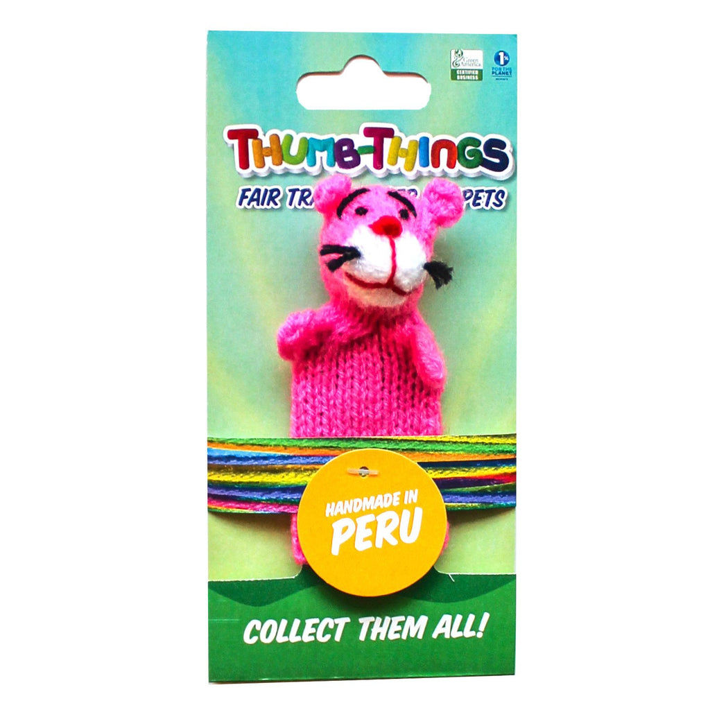 eco-friendly toys, panther finger puppet, Thumbthings handmade finger puppets