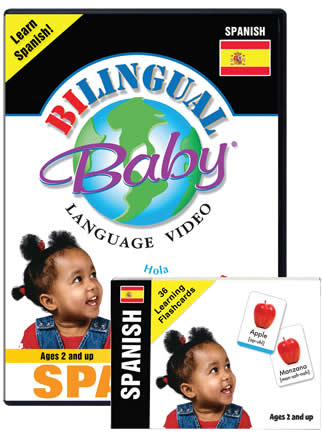 Bilingual Baby Learn Spanish Language DVD and Spanish Language Flashcards Set