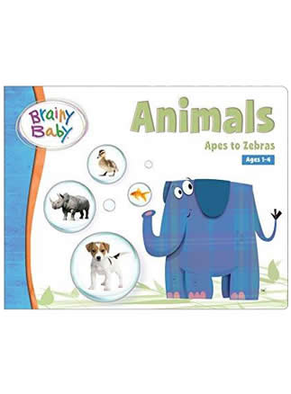 Brainy Baby Animals Board Book Apes to Zebras Deluxe Edition | Learning Animals
