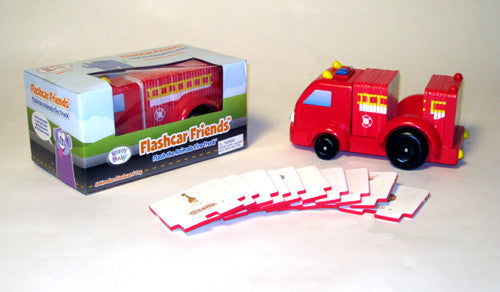 ANIMALS FLASH CARDS SET WOODEN TOY FIRETRUCK:  Flashcard FRIENDS - Flash the Animals Firetruck