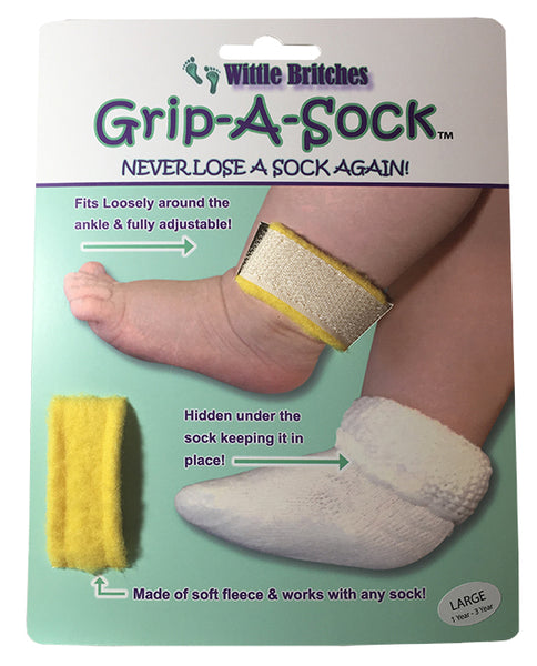 Wittle Britches Grip-A-Sock: Soft Fleece and Velcro Sock Holder Small and Large