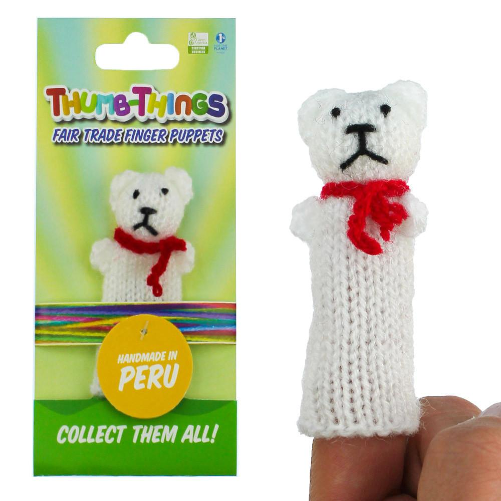 winter teddy bear finger puppet