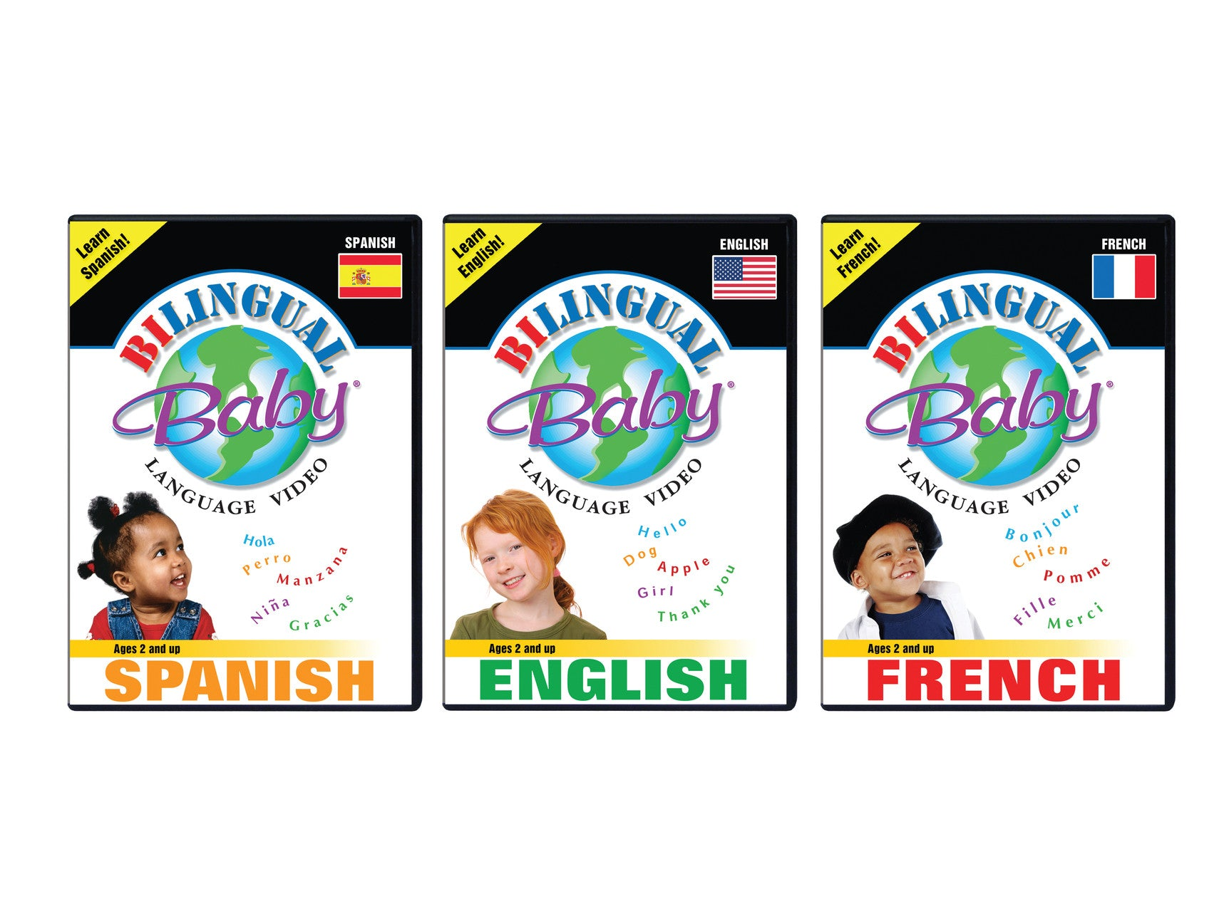 Bilingual Baby Spanish, English and French Total Immersion DVD Set for Babies and Toddlers