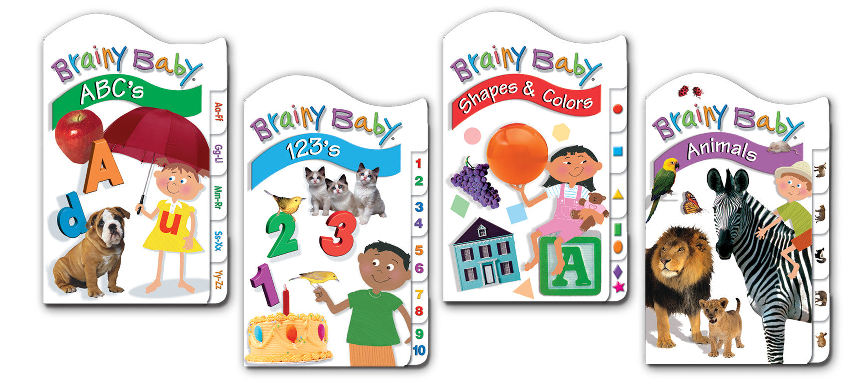 Brainy Baby Classic Tab Books, Animals, 123s, ABCs, Shapes and Colors