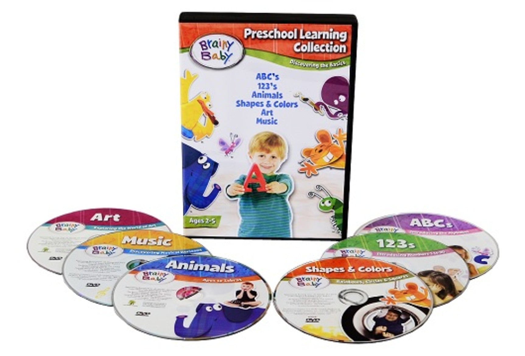 Brainy Baby Preschool Learning DVDs Set of 6 Academics and Enrichment Subjects