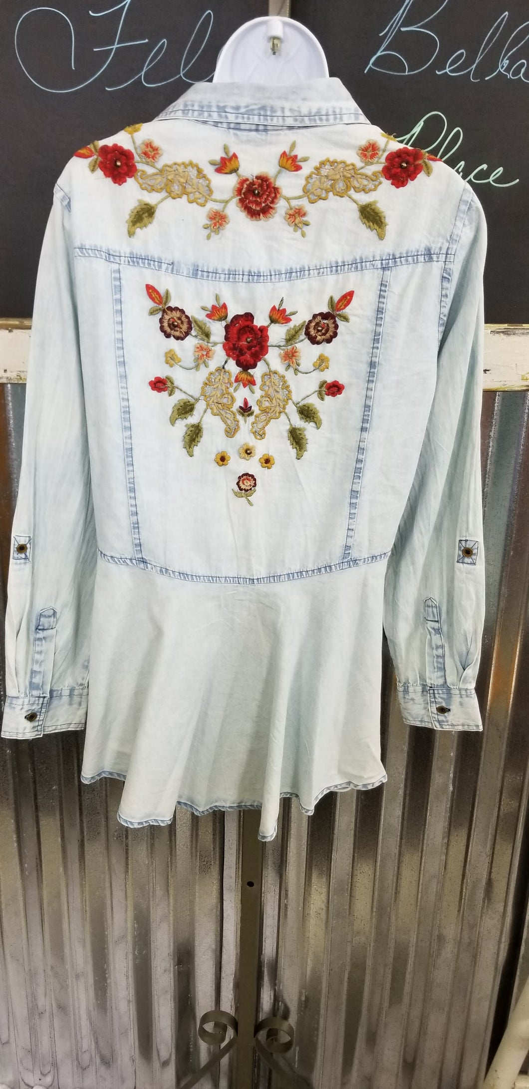 Bleached Denim Embroidered Shirt