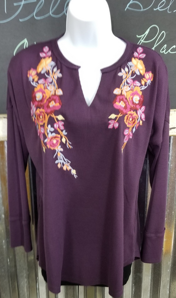 Andree Plum Embroidered Waffle Knit Top