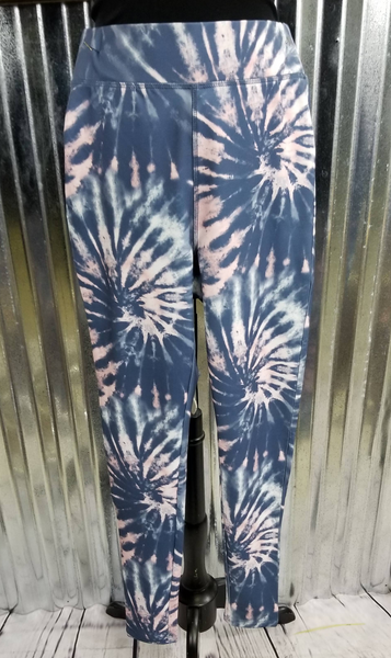 Pink and Blue Tie Die Legging