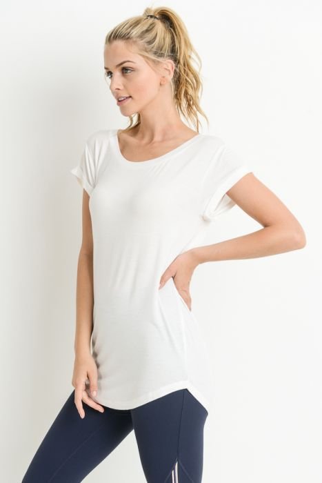 Round Neck Cap Sleeve Shirt
