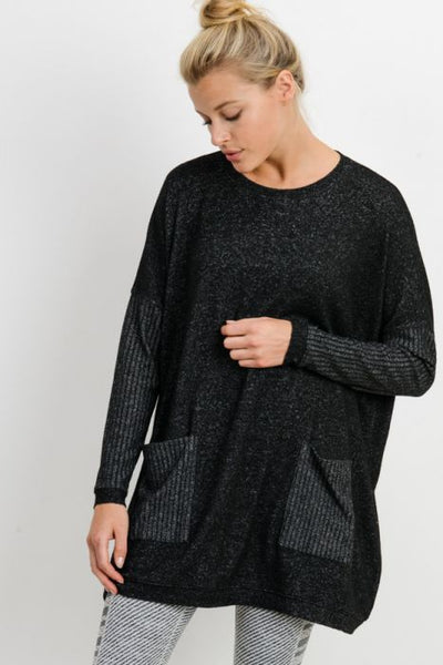 Round-Neck Mixed Hacci Smock Top with Pockets