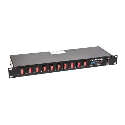 1U 16A 10-Channel Power Distribution Unit (EU) PDU16-10DJ-EU