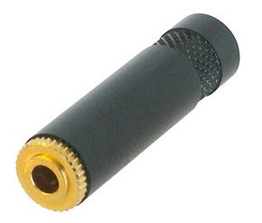 3.5mm Stereo Jack Cable Socket Black Body Gold Pins NYS240BG