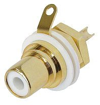 Gold Plated RCA/Phono Socket - White Isolation NYS367-9