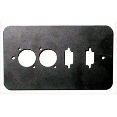 Double Gang Plate Black Punched for 2 x  XLR/2 x 15D Rounded Corners 84511-15D-RC