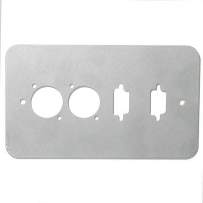 Double Gang Plate Silver Punched for 2 x  XLR/2 x 15D Rounded Corners 84511-15D-RCS