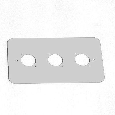 Double Gang Plate Silver Punched for 3 x  XLR Rounded Corners 86511-RCS