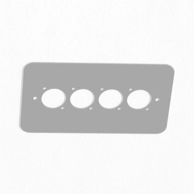 Double Gang Plate Silver Punched for 4 x  XLR Rounded Corners 84511-RCS