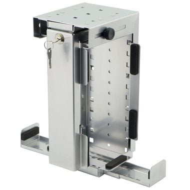 Slimline Rigid Computer Holder, Lockable Silver CPU-87S/L-SLIM