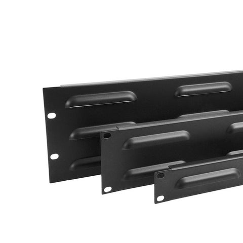 3U Rack Panel Steel Flanged Louvre Black R1268/3UVK
