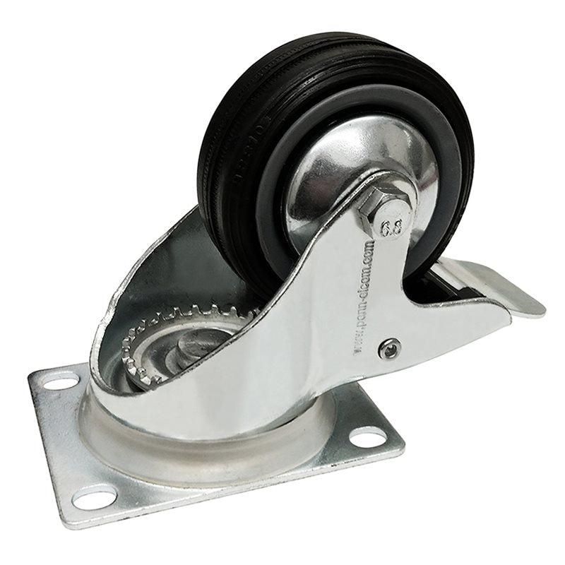 Castor 80mm (3in) Swivel-Brake Black Wheel 60Kg W0980/B