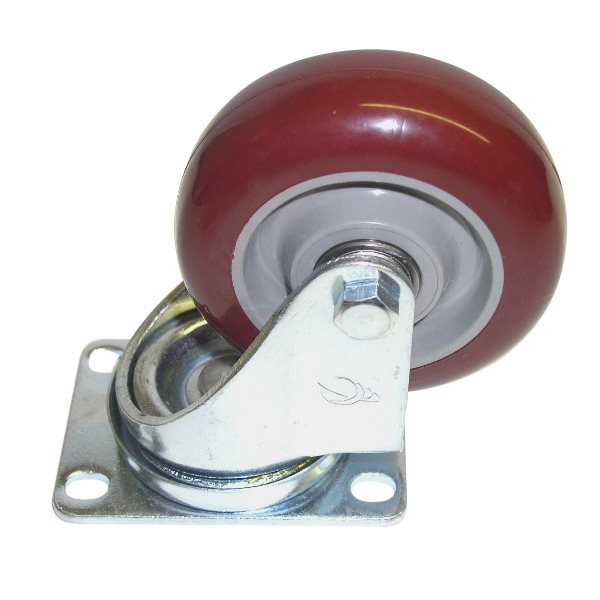 "89mm/3.5"" Swivel Castor Burgundy/Grey Polyurethane Wheel 1352Z210"