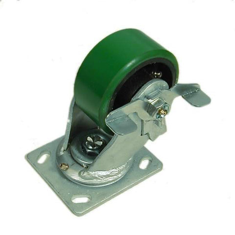 "100mm/3.94"" Heavy Duty Braked Swivel Castor Green Wheel W0999/B"