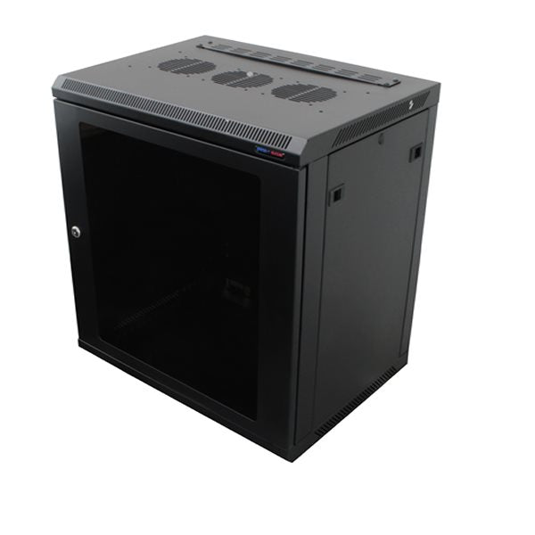 Wall Mount Rack Enclosure 12U 450mm/17.72 Inch Deep 1032 Rack Rail Black Glass Door R6412-1032